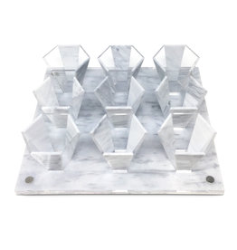 Presented Touch 9 Mini Cup Set-White Marble