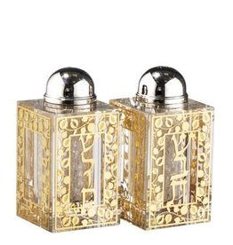 "153854 Salt And Pepper Set Jerusalem Gold W Broken Glass 3""HX1.5"""
