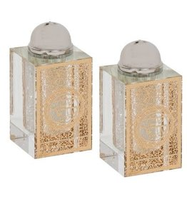 128109 Crystal Salt And Pepper Shaker Set With Gold Plaque