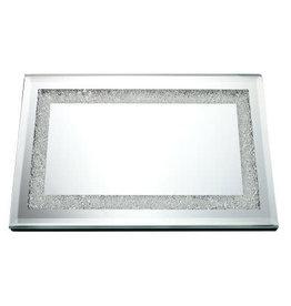 "GS5510 Mirror Tray With Diamonds 13.8x9.8"""