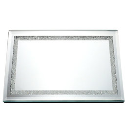 Crystal Border Mirrored Leichter Tray 20x16""