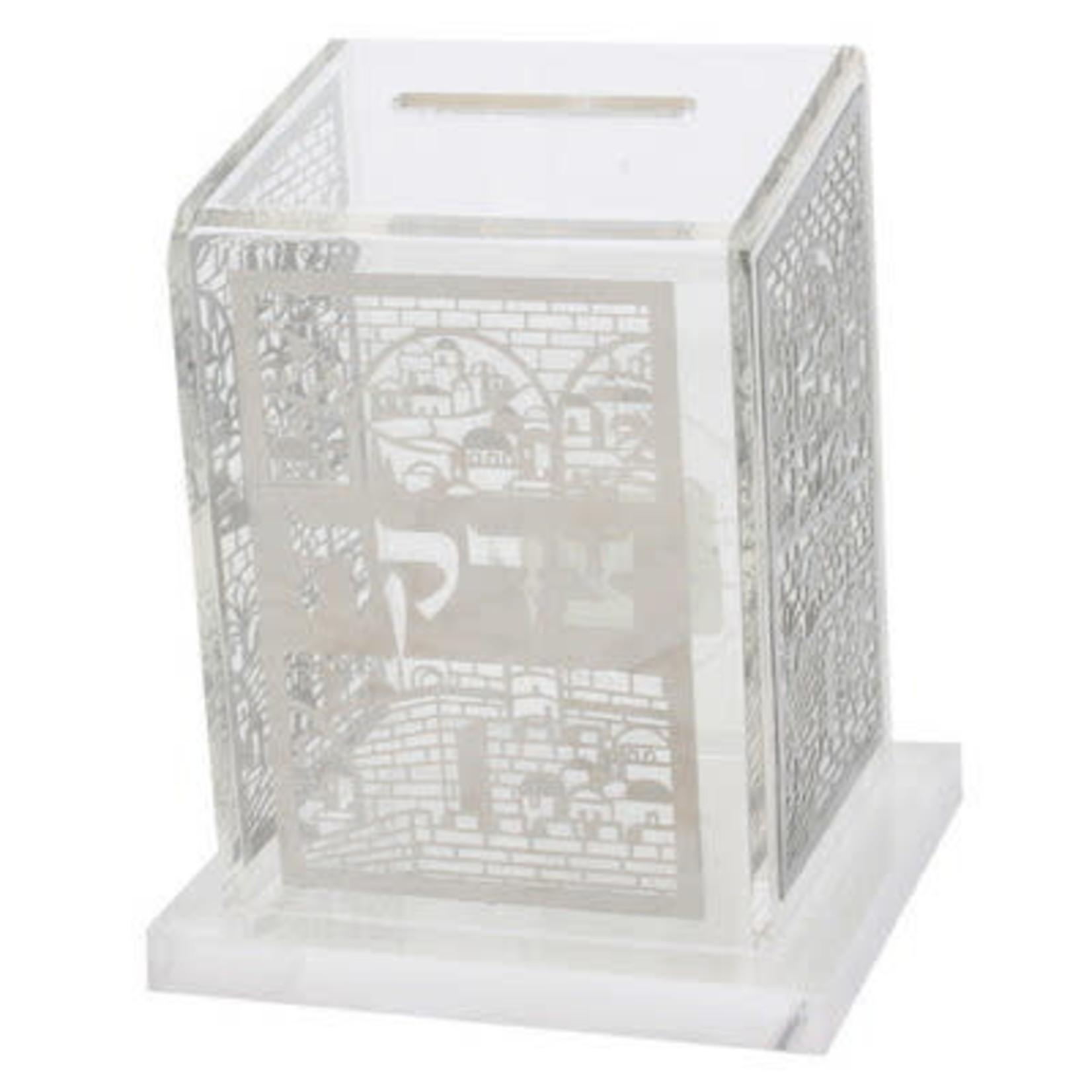 56086 Perspex Tzedakah Box 11*10 Cm With Metal Plaque