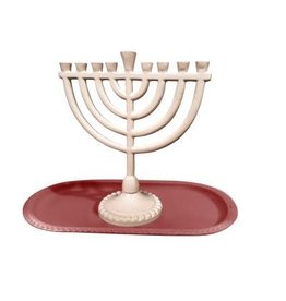"59071 Menorah And Tray Set shade Pink .Menorah 6Wx6.5H"" Tray 8x4 """