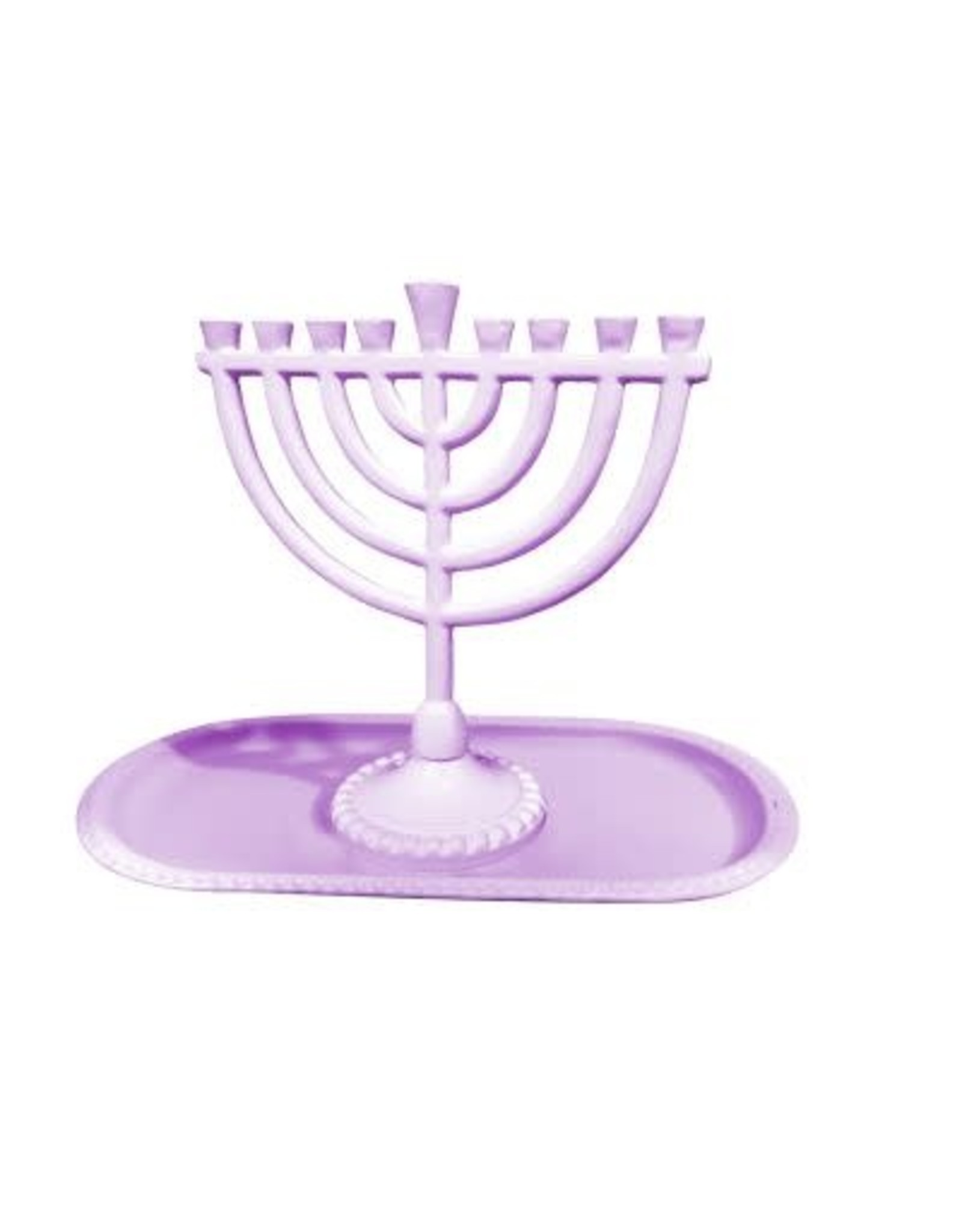 "59058 Mini menroah And Tray Set Menorah 6x6.5"" Round Style Light Purple"