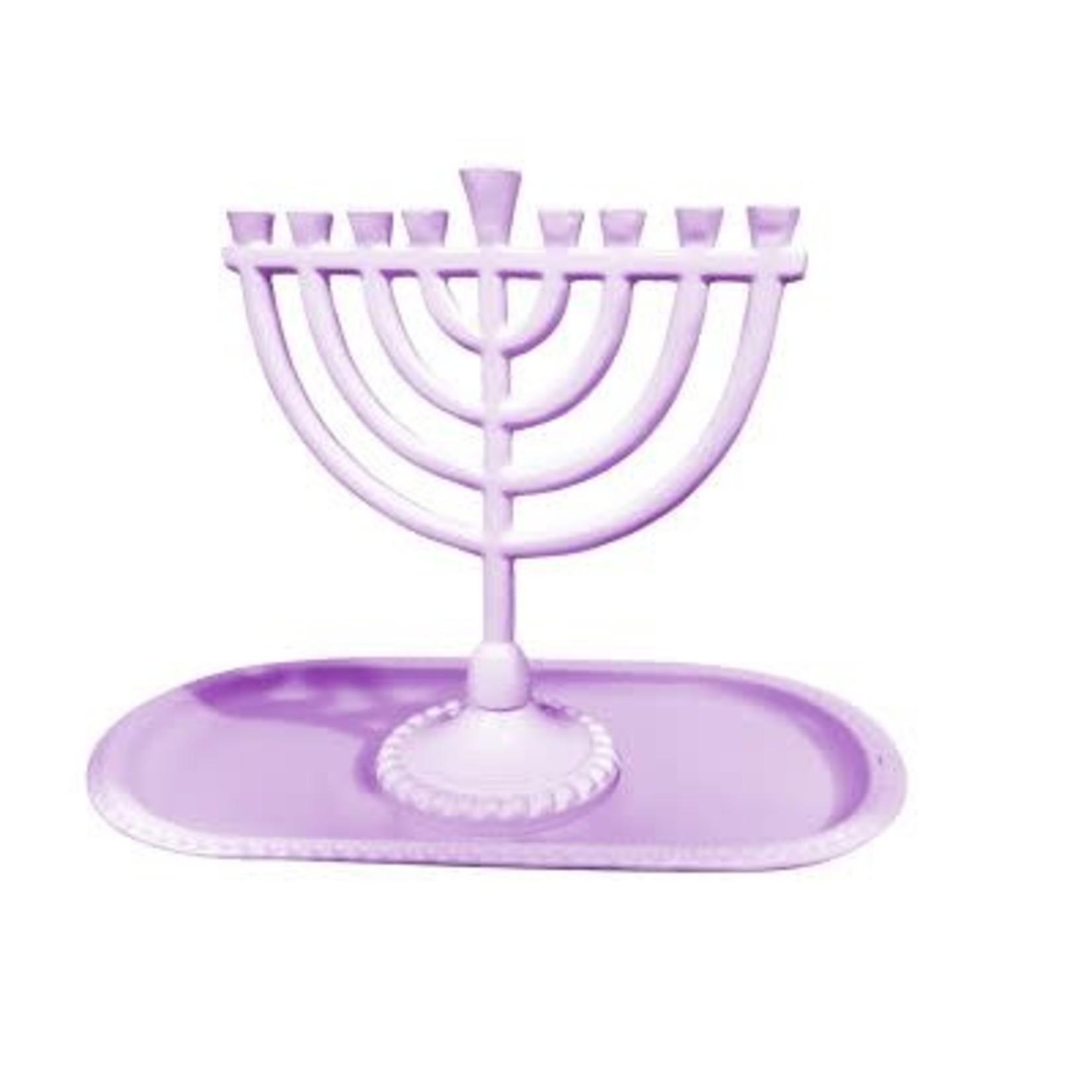 "59058 Mini menroah And Tray Set Menorah 6x6.5"" Round Style Light Purple"