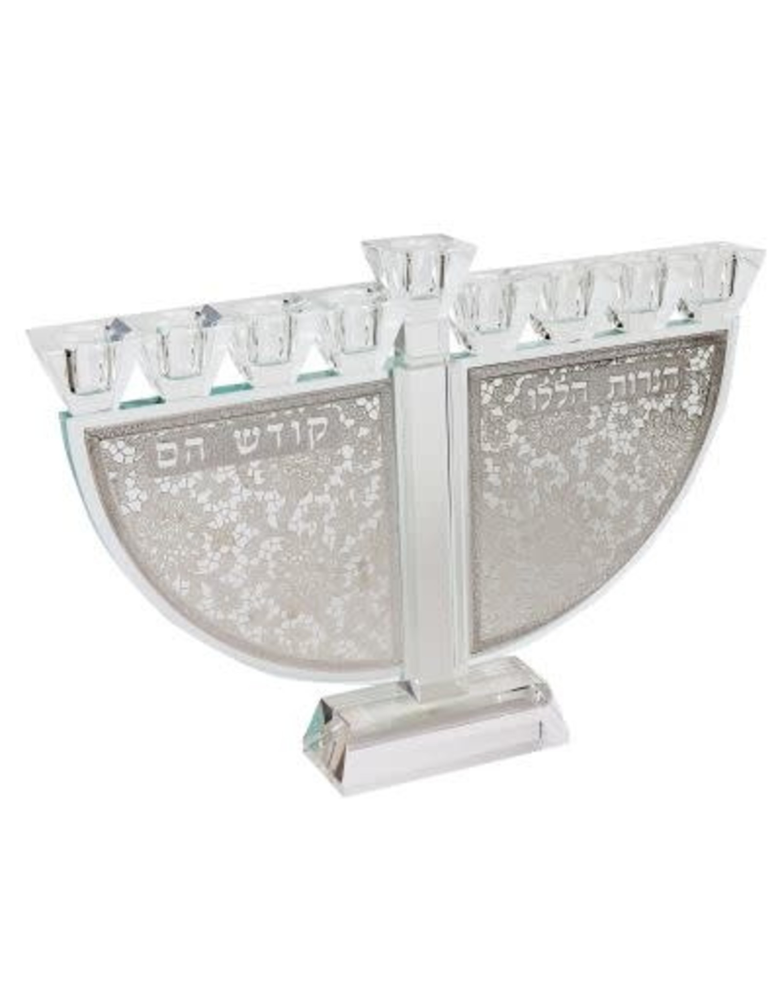 """173081 Crystal menorah With Silver Folwers Haneroth Haluli 9.5""""H"""