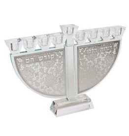 "173081 Crystal menorah With Silver Folwers Haneroth Haluli 9.5""H"