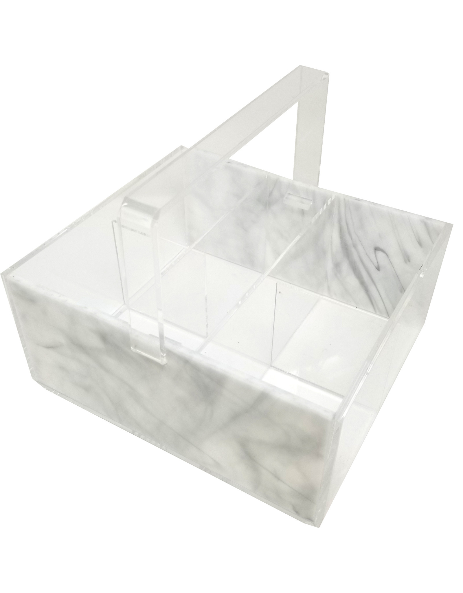 Cutlery Caddy Rectangle White Marble