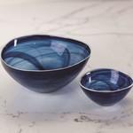 TK-126 Small Monte Carlo Alabaster Glass Bowl- Indigo