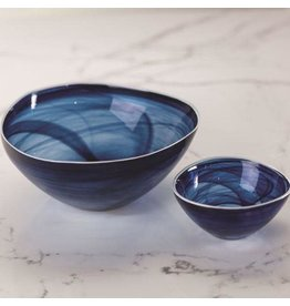 TK-126 Small Monte Carlo Alabaster Glass Bowl- Indigo