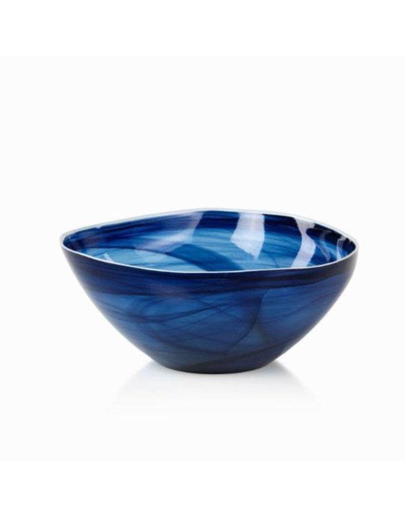 TK-127 Large Monte Carlo Alabaster Glass Bowl- Indigo
