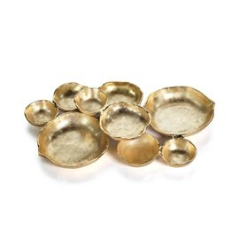 IN-6373 Round Cluster of Nine Serving Bowls- Gold