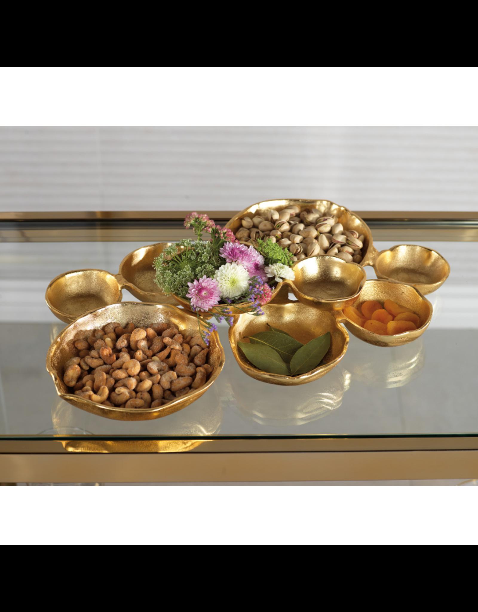 IN-6373 Round Cluster of Nine Serving Bowls- Gold