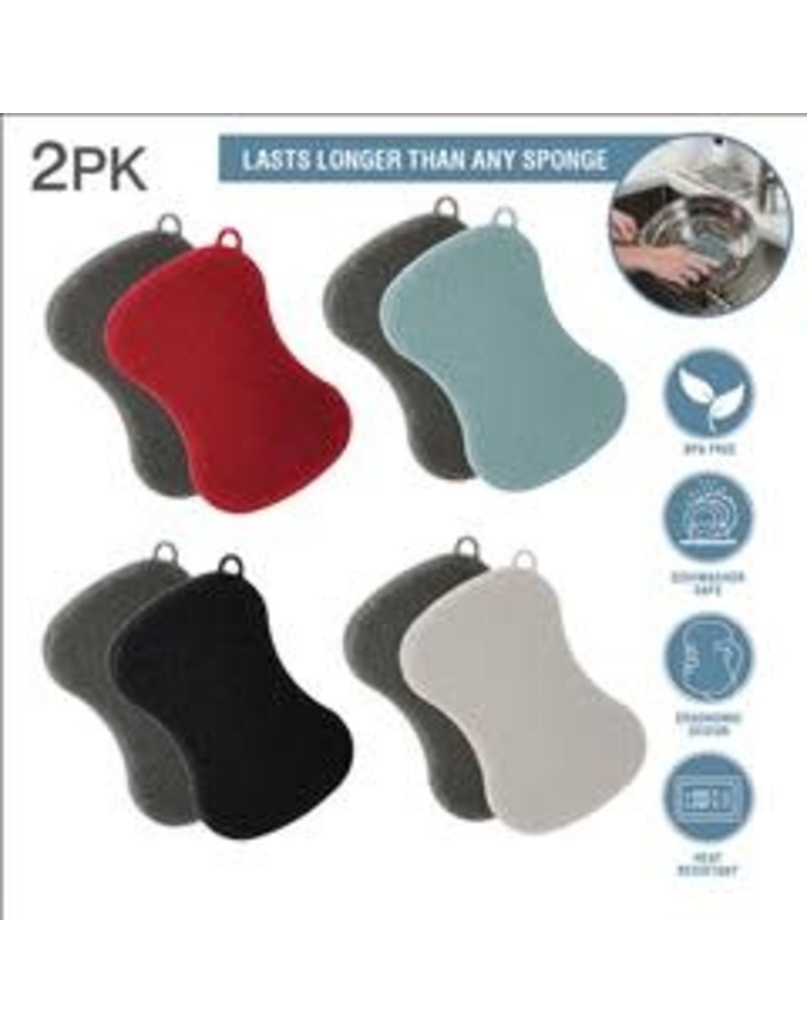 2pk- Oval Silicone Dishwashing Scrubber - Asst.