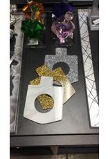 Dreidel Napkin Ring Gold Glitter 4 PK