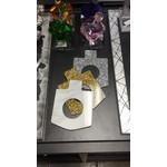 Dreidel Napkin Ring Silver Glitter 4 PK