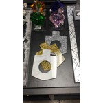 Dreidel Napkin Ring White Marble 4 PK
