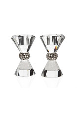 """15668 3.5"""" Pagent Crystal Candlestick Set"""