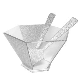 Presented Touch Hexagon Salad Bowl With Servers-Silver Acrylic