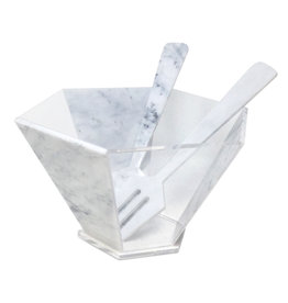 Presented Touch Hexagon Salad Bowl With Servers-White Marble