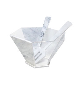 Presented Touch 8 Inch Hexagon Bowl-White Marble