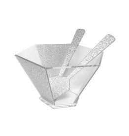 Presented Touch 8 Inch Hexagon Bowl-Silver Acrylic