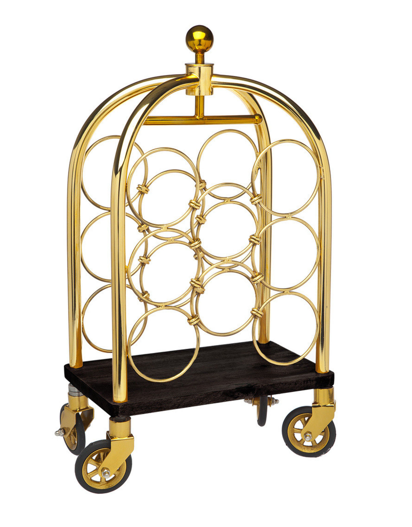 19921 Gold Luggage Cart Winerack