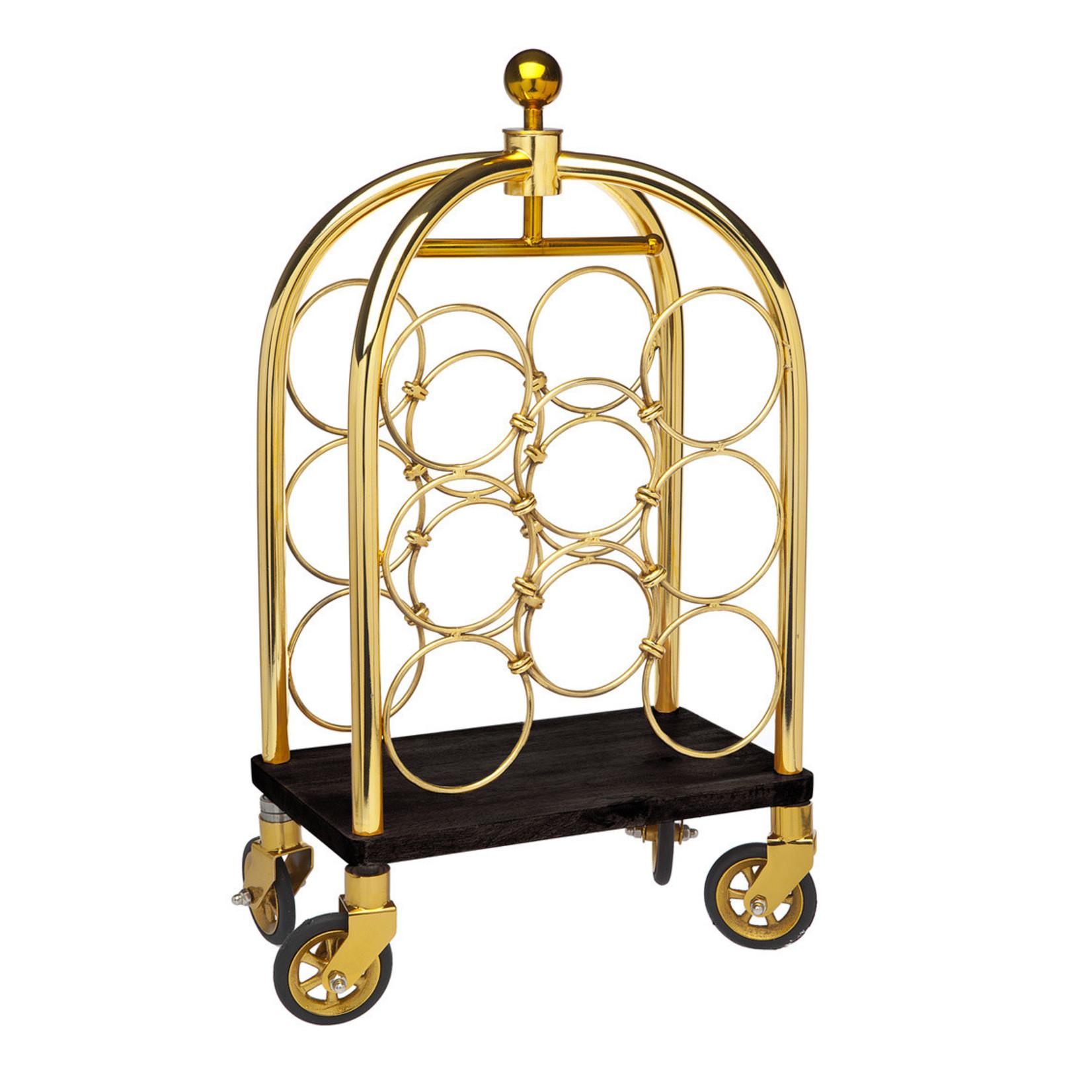 19921 Gold Luggage Cart Winerack