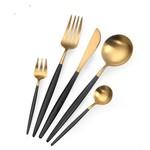 TAJ Designs Moderna Flatware Onyx Gold Service For 4