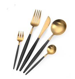 TAJ Designs Moderna Flatware Onyx Gold Service For 4