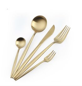TAJ Designs Moderna Flatware Gold Service For 4
