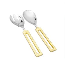 TPSS1090 Salad Servers with Square Gold Loop Handles