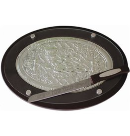 CT29277-B Challah Tray wood & silver Plated w/Knife