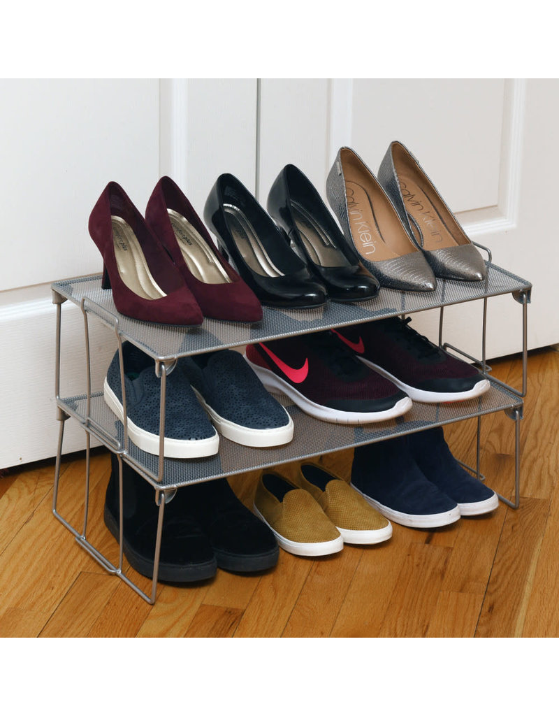 Large Mesh Shoe Shelf Silver