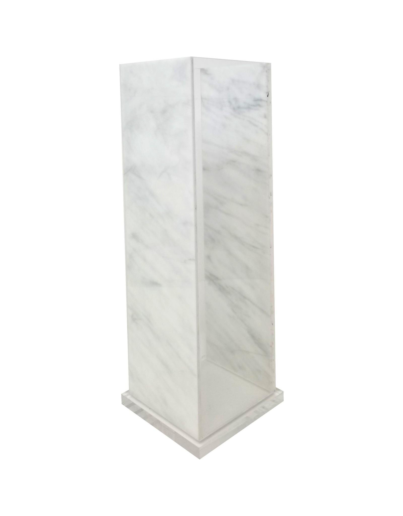 Acrylic Vase Square White Marble