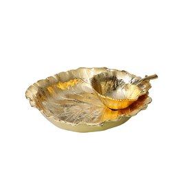 Small Gold Leaf Chip Dip Bowl
