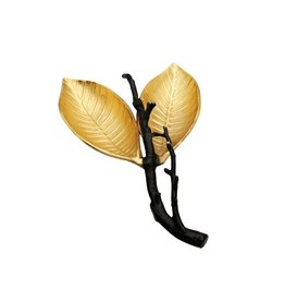 LR1015B Gold Sweet Birch Leaf Shaped Relish Dish