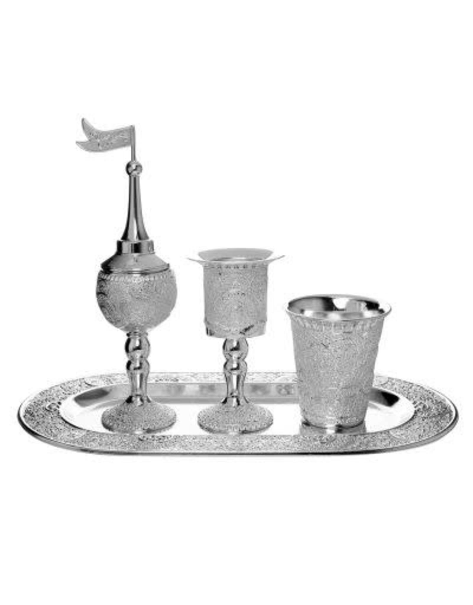 58267 Havdalah Set Oval Tray Filigree Design Silver Plated