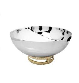 """TPB1094 11.5"""" Stainless Steel Bowl with Gold Loop Base"""