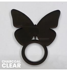 Set of 4 Charcoal Clear Butterfly Napkin Ring