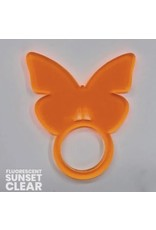 Set of 4 Fluorescent Sunset Butterfly Napkin Ring