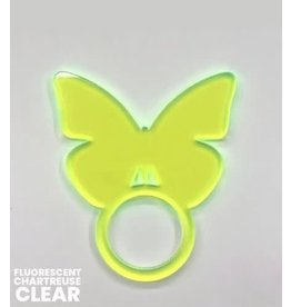 Set of 4 Fluorescent Chartreuse Butterfly Napkin Ring