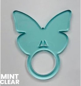 Set of 4 Clear Mint Butterfly Napkin Ring