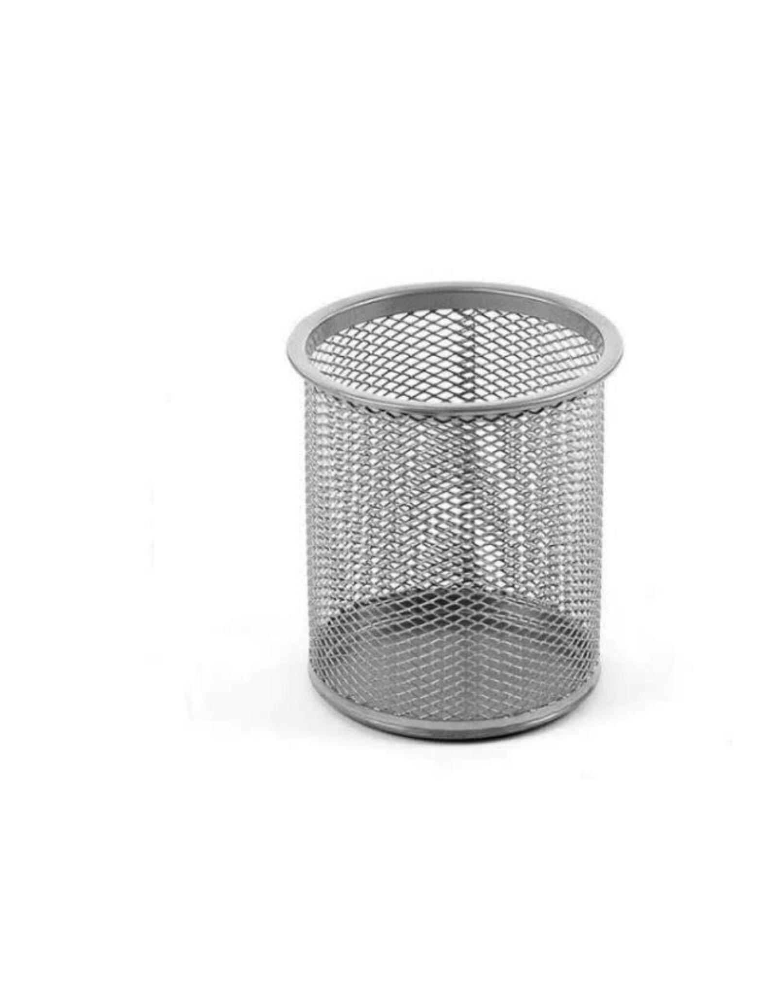 Office Round Desk Steel Mesh Pencil Cup Pen Holder Silver 2210