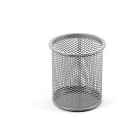 Office Round Desk Steel Mesh Pencil Cup Pen Holder Silver 2210