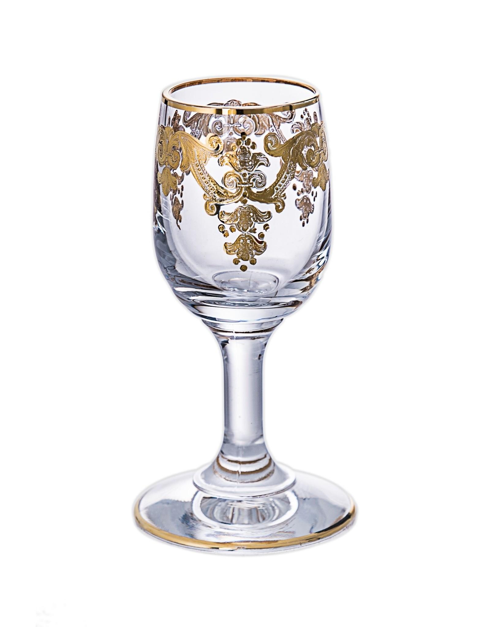 Set of 6 Vodka Glasses- 24k Gold Artwork