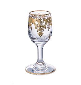 Set of 6 Vodka Glasses- 24k Gold Artwork