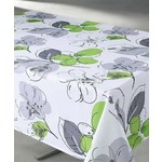 """Floral Green 94x58"""" Stain Resistant Tablecloth"""