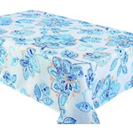 """Fiore Blue  94x58"""" Stain Resistant Tablecloth"""