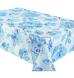 "Fiore Blue  94x58"" Stain Resistant Tablecloth"